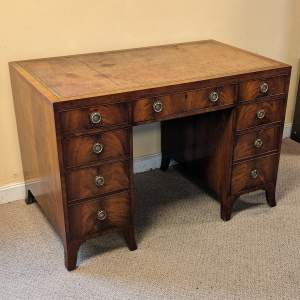 Mahogany Pedestal Desk with Inset Tooled Leather