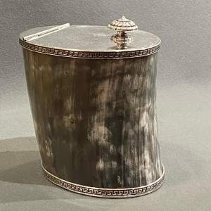 19th Century Silver Plated Horn Biscuit Barrel