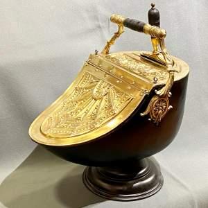 Victorian Decorative Brass Coal Box with Shovel