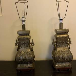 Pair Of English Mid 20th Century Lamps in the Chinese Style