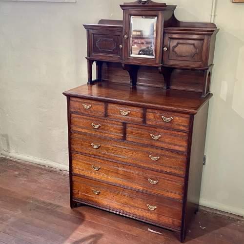 Unusual 19th Century Walnut Cabinet on Chest image-1