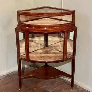 19th Century Inlaid Mahogany Corner Bijouterie Cabinet