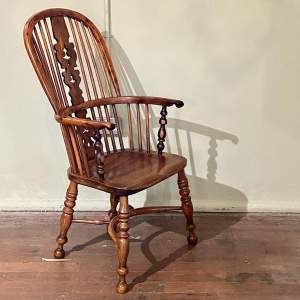 19th Century Yew Wood High Back Windsor Chair