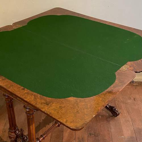 Quality Victorian Inlaid Burr Walnut Games Table image-5