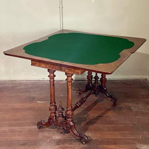 Quality Victorian Inlaid Burr Walnut Games Table image-6