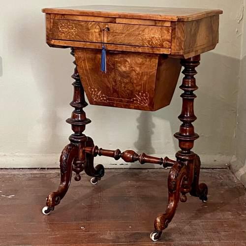 Victorian Burr Walnut and Tunbridge Ware Sewing Table image-1