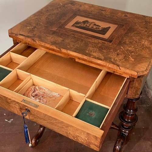 Victorian Burr Walnut and Tunbridge Ware Sewing Table image-2