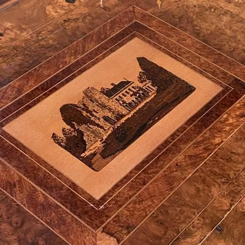 Victorian Burr Walnut and Tunbridge Ware Sewing Table image-3