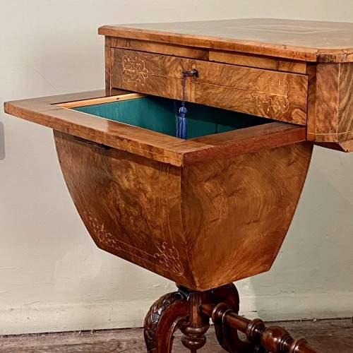 Victorian Burr Walnut and Tunbridge Ware Sewing Table image-5