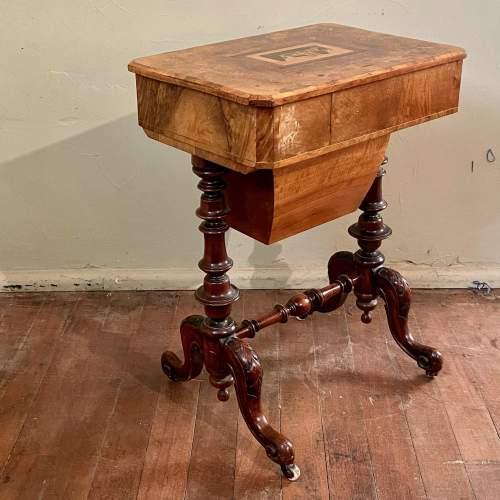 Victorian Burr Walnut and Tunbridge Ware Sewing Table image-6