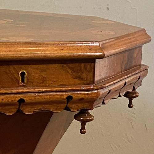 Victorian Inlaid Walnut Sewing Table image-4