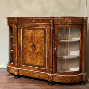 Fantastic Large Victorian Burr Walnut Inlaid Credenza
