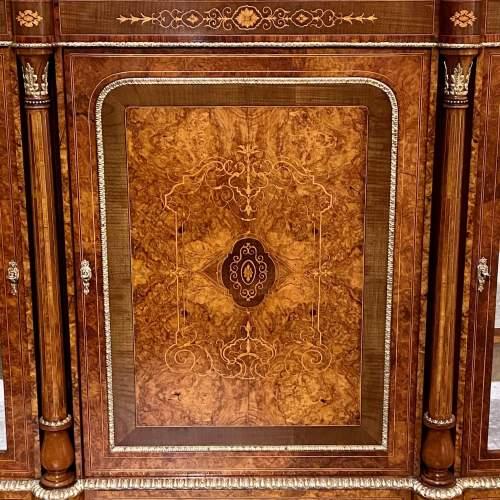 Fantastic Large Victorian Burr Walnut Inlaid Credenza image-4