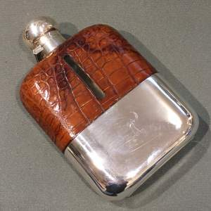 Large James Dixon One Pint Silver Hip Flask