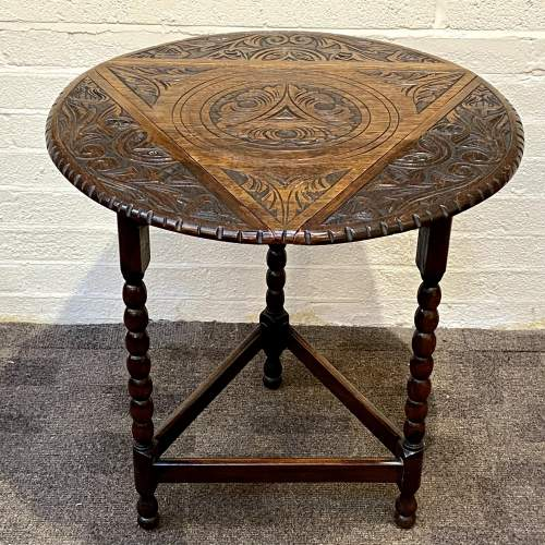 1930s Carved Oak Triangular Occasional Table image-1
