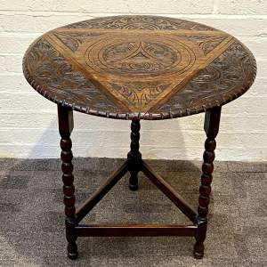 1930s Carved Oak Triangular Occasional Table