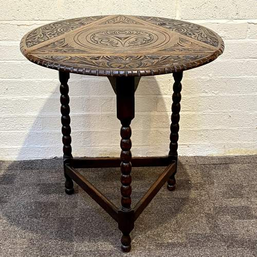 1930s Carved Oak Triangular Occasional Table image-2