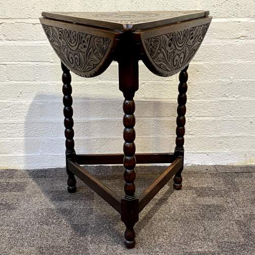 1930s Carved Oak Triangular Occasional Table image-3