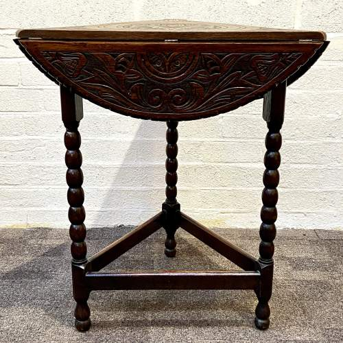 1930s Carved Oak Triangular Occasional Table image-4