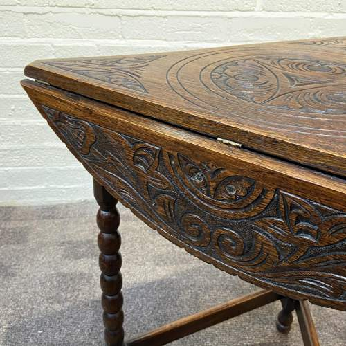 1930s Carved Oak Triangular Occasional Table image-6