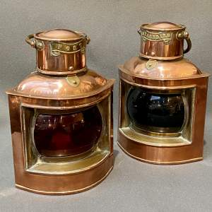 Pair of 19th Century Copper and Brass Canal Boat Lanterns
