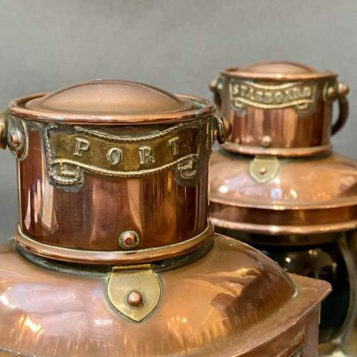 Pair of 19th Century Copper and Brass Canal Boat Lanterns image-2