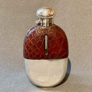 Early 20th Century Silver and Crocodile Skin Hip Flask