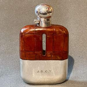 1920s Silver and Crocodile Skin Hip Flask