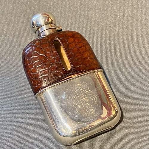 19th Century James Dixon Silver and Crocodile Skin Hip Flask image-2