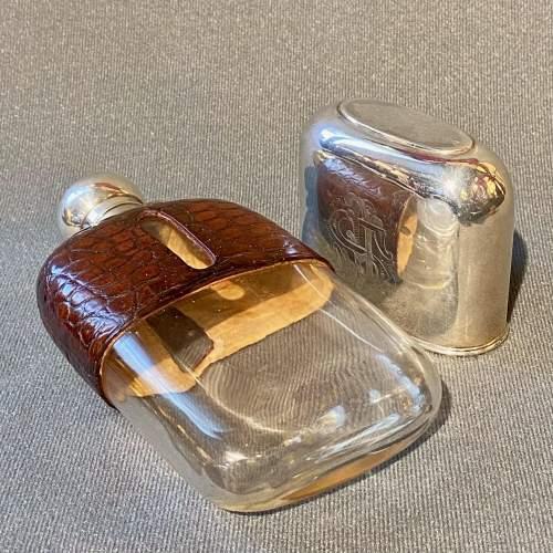 19th Century James Dixon Silver and Crocodile Skin Hip Flask image-3