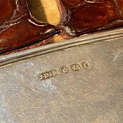 19th Century James Dixon Silver and Crocodile Skin Hip Flask image-6