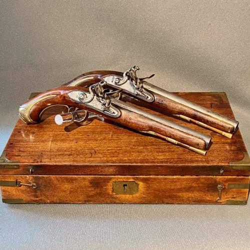 Early 19th Century Cased Pair of Flintlock Holster Pistols image-1