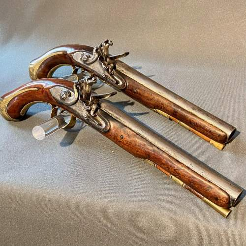 Early 19th Century Cased Pair of Flintlock Holster Pistols image-3