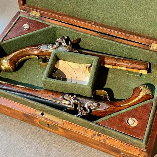 Early 19th Century Cased Pair of Flintlock Holster Pistols image-2