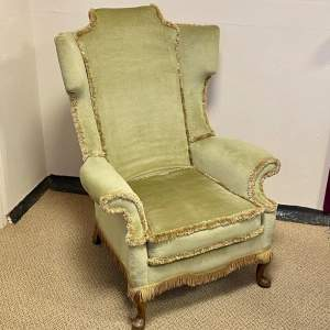 20th Century Upholstered Wing Back Chair