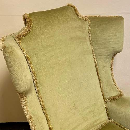 20th Century Upholstered Wing Back Chair image-2