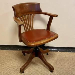 Edwardian Oak Adjustable Captains Chair