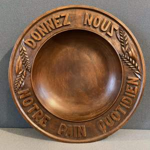French Carved Wooden Round Bread Bowl