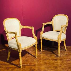 Pair of Gilt Wood Framed Open Armchairs