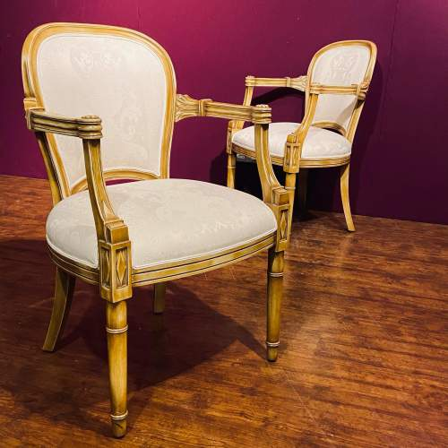 Pair of Gilt Wood Framed Open Armchairs image-3