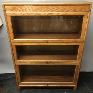 Glazed Oak Stacking Sectional Bookcase