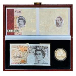 Royal Mint Commemorative Silver Proof Crown and Bank Note Set