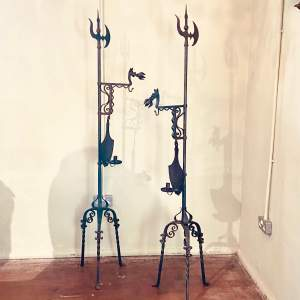 Pair of Gothic Revival Wrought Iron Fire Stands