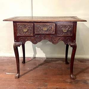Late 17th Century Heavily Carved Oak Three Drawer Table