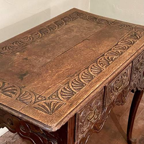 Late 17th Century Heavily Carved Oak Three Drawer Table image-2