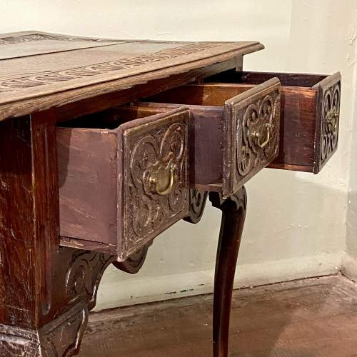 Late 17th Century Heavily Carved Oak Three Drawer Table image-3
