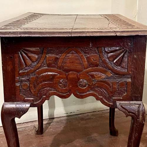 Late 17th Century Heavily Carved Oak Three Drawer Table image-5