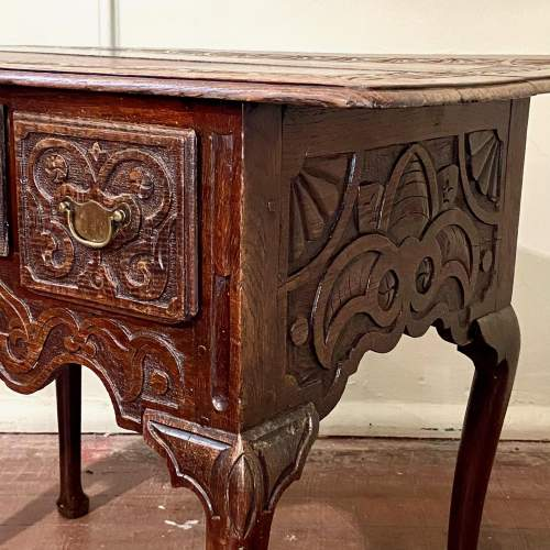 Late 17th Century Heavily Carved Oak Three Drawer Table image-6