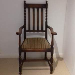 Oak Elbow Carver High Back Dining Chair