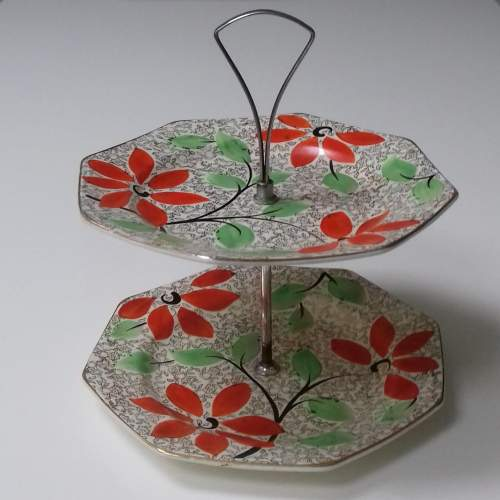 Leighton Pottery Hand Painted Two Tier Cake Stand image-1